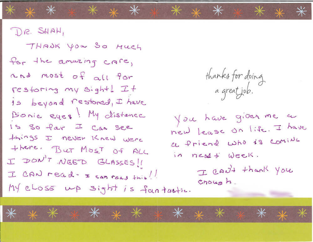 Patient Testimonials: Dr. Shah, Thank you so much for the amazing care….